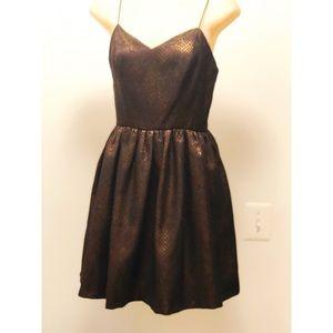 Brown Shimmer Gold Mini Dress